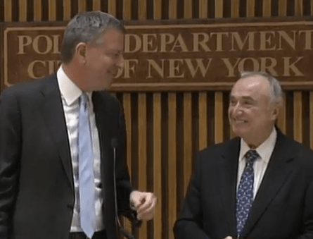 Mayor Bill de Blasio and Police Commissioner Bill Bratton talk about their commitment to traffic safety. Photo: NYC Mayor's Office