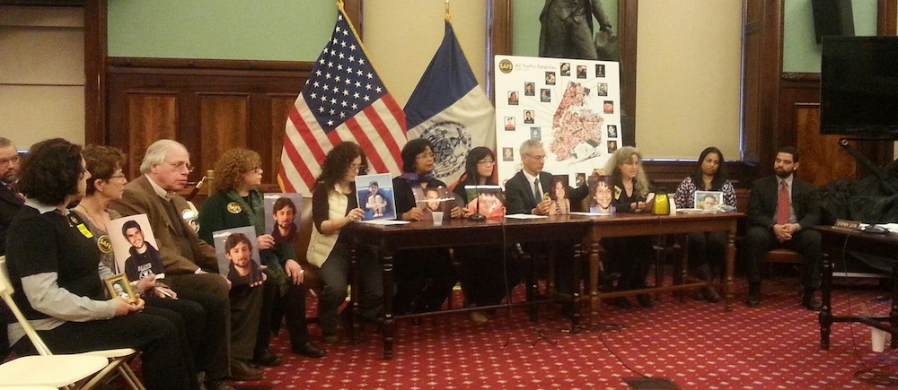 Family members of those killed in NYC traffic told their stories to the City Council transportation and public safety committees today. Photo: Stephen Miller