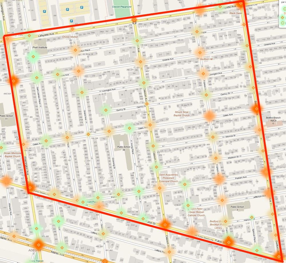 Heat map of crashes within the proposed Clinton Hill/Bed-Stuy Slow Zone from August 2011 through December 2013. Click to enlarge. Image: ##http://nyc.crashmapper.com/11/8/13/12/standard/collisions/2/17/40.685/-73.960##NYC Crashmapper##