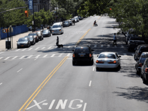 CB 10's chair is worried that adding pedestrian islands to Morningside Avenue will cause problems for double-parkers. Photo: DOT