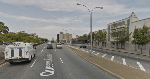 So far, the highest number of speed camera tickets have been issued on Queens Boulevard outside the entrance to Razi School. Photo: Google Maps