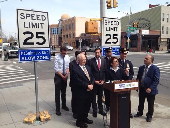 Transportation Commissioner Polly Trottenberg speaks at today's arterial slow zone announcement on McGuinness Boulevard. Photo: Jon Orcutt/Twitter