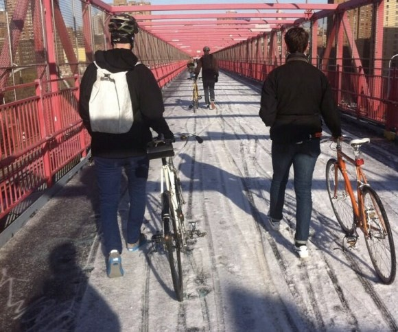 """N'ice day to walk your bike to work,"" tweeted Wiliamsburg Bridge commuter Will Sherman. Photo: Will Sherman/Twitter"