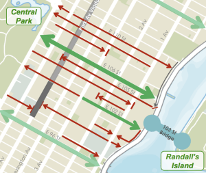 Trying to get between Central Park and Randall's Island? East 106th Street is the only real option. Image: DOT