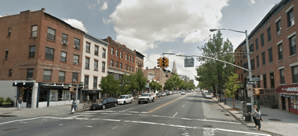 If DOT follows through on local requests, Atlantic Avenue, here at Hoyt Street, could get some pedestrian safety upgrades. Photo: Google Maps