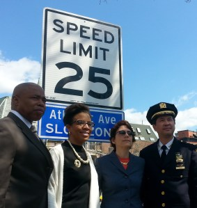 Brooklyn Borough President Eric Adams, Council Member Laurie Cumbo, Transportation Commissioner Polly Trottenberg, and NYPD Chief of Transportation Thomas Chan at today's announcement. Photo: Stephen Miller