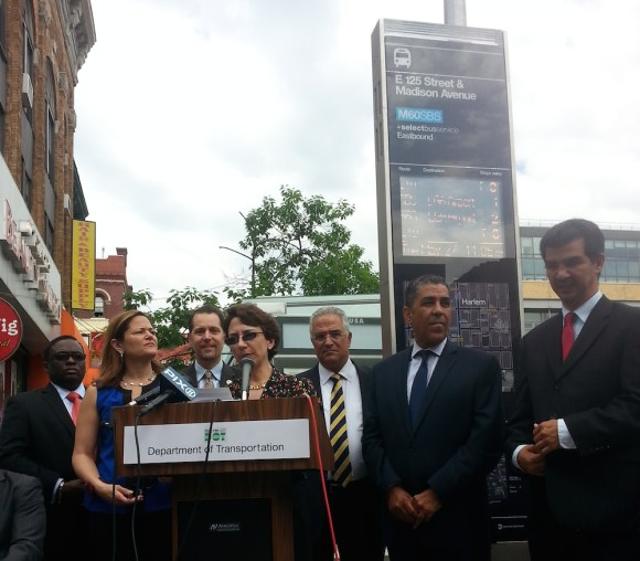 Transportation Commissioner Polly Trottenberg speaks at today's event marking the launch of Select Bus Service on 125th Street. Photo: Stephen Miller