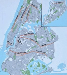 As of today, DOT has announced 13 arterial slow zones to be installed by the end of August. Image: NYC DOT/Twitter