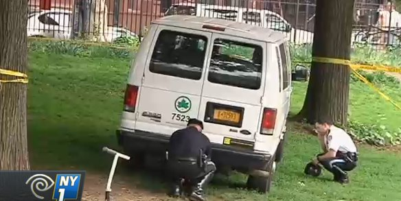 A Parks Department employee ran over the legs of a 6-year-old child inside Morningside Park. No charges were filed. Image: NY1