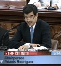 Rodriguez at this morning's committee vote in favor of supporting a 25 mph speed limit. Image: NYC Council