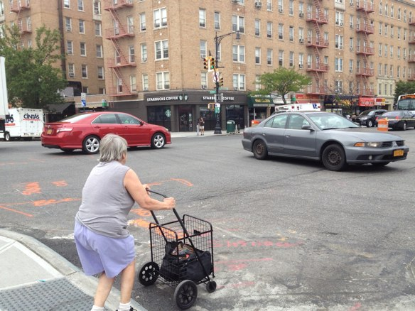A driver makes a prohibited left turn from southbound Broadway onto eastbound Dyckman.