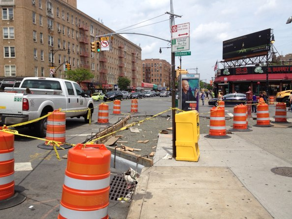 Shorter crossing distances are coming at Broadway, Dyckman Street, and Riverside Drive. Note the new left turn restriction for drivers traveling north on Broadway. Photos: Brad Aaron