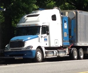 Unaddressed loopholes in a state law adopted in 2011 allow large trucks registered out of state to operate in NYC without crossover mirrors, which give drivers a view of pedestrians directly in front of them. Photo: Brad Aaron