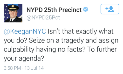 This tweet about traffic safety advocates from Captain Thomas C. Harnisch, commanding officer of East Harlem's 25th Precinct, was deleted yesterday after Harnisch first tweeted from his personal account.