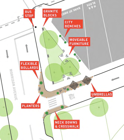 The plan would start with curb extensions and plaza upgrades. The local group behind the plan hopes for a full plaza eventually. Image: DOT