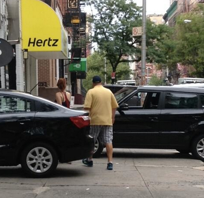 Car rental outlets on W. 83rd Street in Manhattan don't own the sidewalk. They just hog it like they do. Photo: ##https://twitter.com/kencoughlin/status/485457059551260672/photo/1##@kencoughlin##