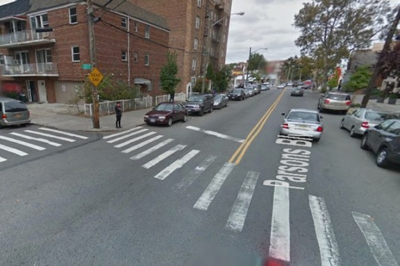 A cyclist was struck and killed by a private ambulette driver on Irving Avenue in Bushwick. Photo: Google
