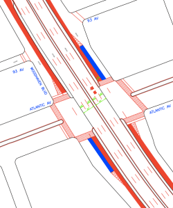 A 2009 plan from DOT suggested bus lanes and new islands for boarding in the existing Woodhaven Boulevard service roads. Image: DOT [PDF]