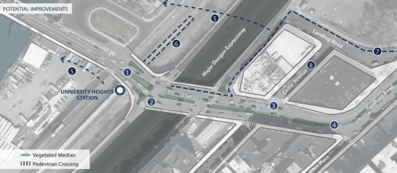 DCP has proposed pedestrian safety fixes near the University Heights Bridge to help improve access to an under-utilized Metro-North station. Image: DCP