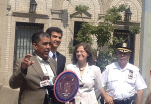 State Senator Adriano Espaillat and City Council reps Ydanis Rodriguez and Helen Rosenthal inaugurated the Broadway Arterial Slow Zone today. DOT announced on Friday that 14 additional arterials will get the slow zone treatment before the year is out. Photo: ##https://twitter.com/EspaillatNY/status/496363520024670208##@EspaillatNY##