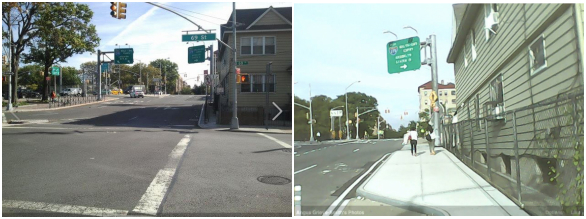 Before and after: 37th Avenue at 69th Street, looking east. Photos: Angus Grieve-Smith