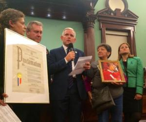 Council Member Jimmy Van Bramer speaks while honoring the work of Make Queens Safer before the City Council passed a bill creating civil penalties for hit-and-run crashes. Photo: JimmyVanBramer/Twitter