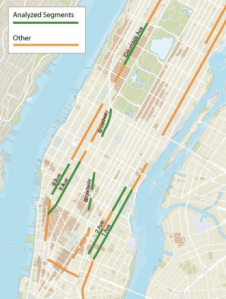 Segments of protected bike lanes in green had six years of before-and-after data for the study. Image: DOT