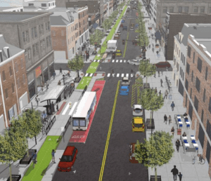 Washington Street in Hoboken will feature a protected bike lane and expanded pedestrian space under a plan released this week. Image: The RBA Group