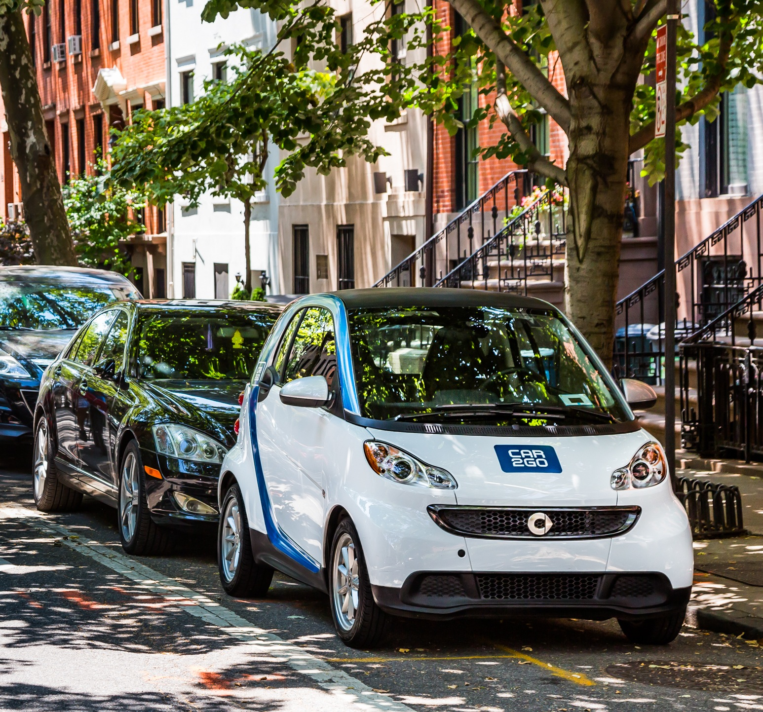 Car2Go will operate on NYC's residential streets, which offer free parking. The city hasn't made a deal with the company for metered spaces. Photo: Car2Go