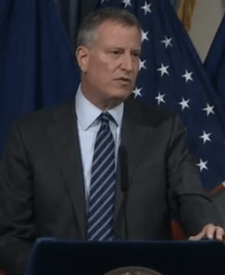 Mayor de Blasio speaks at today's bill signing. Photo: NYC Mayor's Office/YouTube