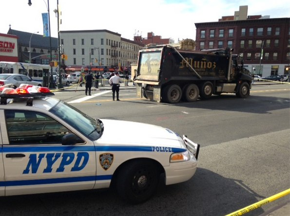"""A dump truck driver fatally struck Winnifred Matthias, 77, at the intersection of Flatbush and Atlantic Avenues. NYPD said Matthias was walking """"outside the crosswalk."""" No charges were filed. Photo: Ian Dutton"""