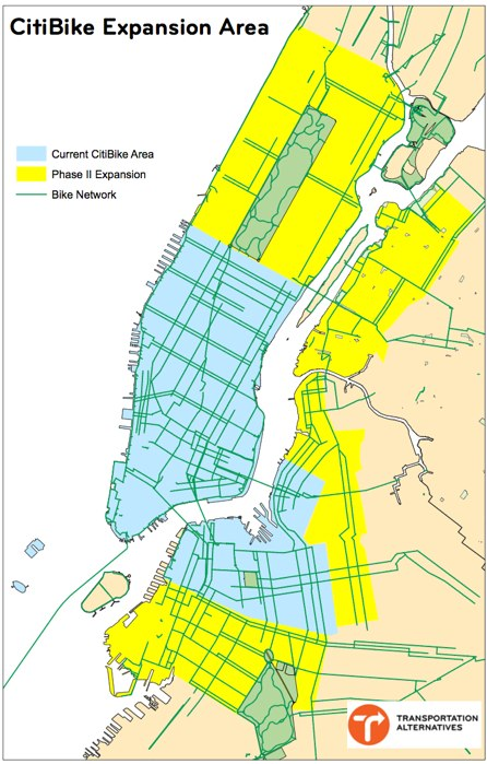 Will Mayor de Blasio fix huge infrastructure gaps in the bike lane network as Citi Bike expands? Image: Transportation Alternatives. Click for full-size version.