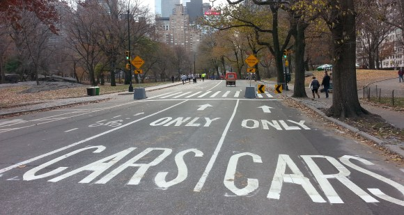 Instead of making the park car-free, DOT's pedestrian safety improvements marked off space only for cars. Photo: Stephen Miller