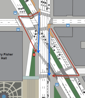Today, pedestrians on Columbus must follow a circuitous route, in red. DOT's plan adds new crosswalks, in blue. Image: DOT