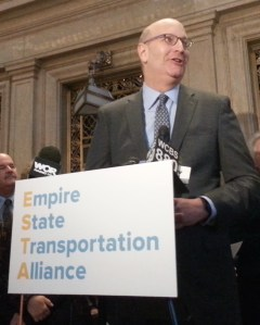 Former MTA Chairman (and current Alta Bicycle Share CEO) Jay Walder speaks at Grand Central Terminal today. Photo: Stephen Miller