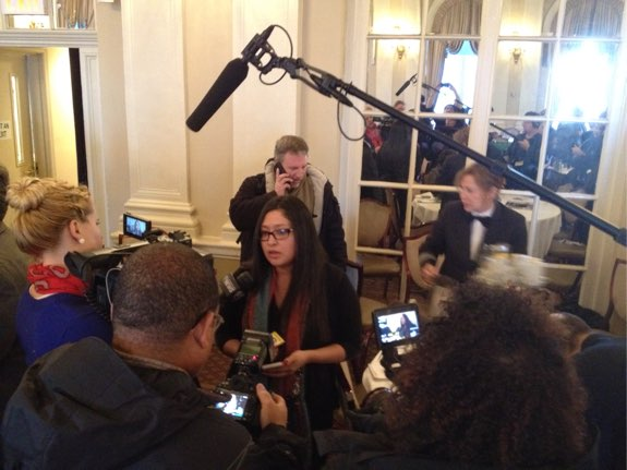 Sofia Russo, whose daughter Ariel was killed by a Manhattan driver, is swarmed by reporters after asking Manhattan DA Cy Vance to meet with the families of crash victims. Photo: Brad Aaron