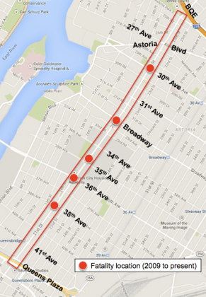 Since 2009, five people have died on 21st Street in Astoria. Map: DOT