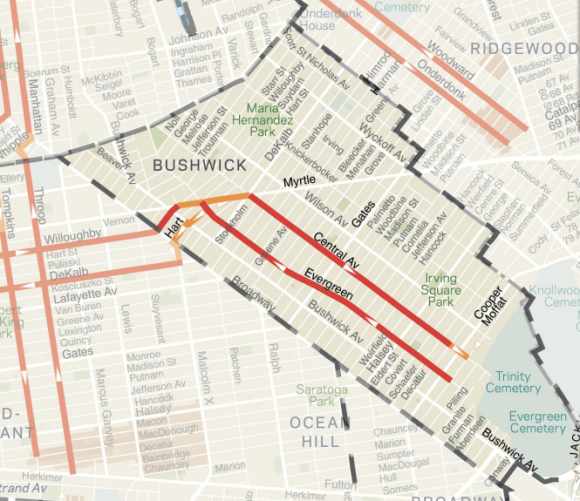 The neighborhood is currently not well-served by bike lanes. Image: DOT