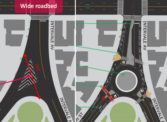 The super-wide intersection of Intervale Avenue and Dawson Street is set to be transformed with a roundabout. Image: DOT [PDF]