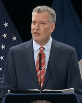 Mayor de Blasio announces a new citywide ferry system, and repeats his old BRT promises. Photo: Mayor's Office/YouTube