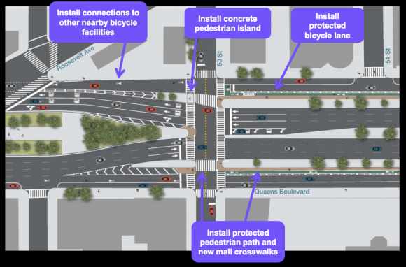 The protected bikeway gives way to sharrows on the final block before Roosevelt Avenue. Image: DOT [PDF]