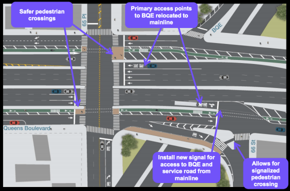 The plan gets BQE-bound drivers off the eastbound service road, opening up space for the bike lane, and adds traffic signals to help pedestrians and cyclists cross at the highway on-ramps. Image: DOT [PDF]