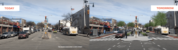 The Grand  Concourse at 149th Street. Transportation Alternatives recommends major redesigns and significant investments in this arterial street and others.