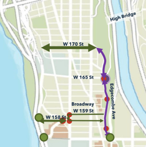 The plan offers protected bikeways on 170th Street, 158th Street, and Edgecombe Avenue. Map: DOT