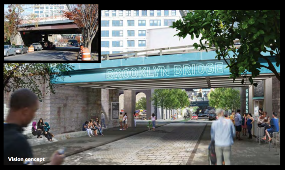 Washington Street would become a pedestrian-priority street where the stairway to the Brooklyn Bridge path meets ground level. Image: WXY Architecture