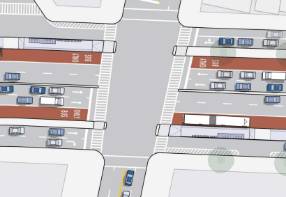 A typical intersection design proposed for Woodhaven Boulevard. Image: DOT/MTA [PDF]