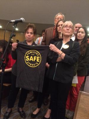 Joan Dean, left, lost her grandson Sammy Cohen Eckstein in a traffic crash. Mary Beth Kelly, right, lost her partner Dr. Carl Henry Nacht. Both live on the Upper West Side and asked Council Member Helen Rosenthal about why she reappointed a street safety foe to Community Board 7. Photo: Emily Frost/DNAinfo