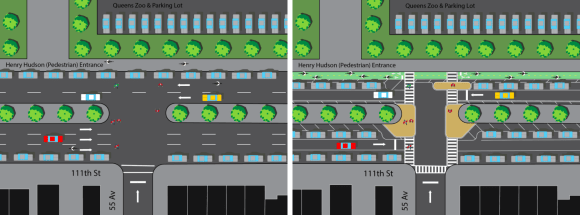 111th Street would receive a two-way protected bike lane, expanded pedestrian space, new crosswalks, and added parking. But CB 4 members are worried about reducing the number of car lanes. Image: DOT [PDF]