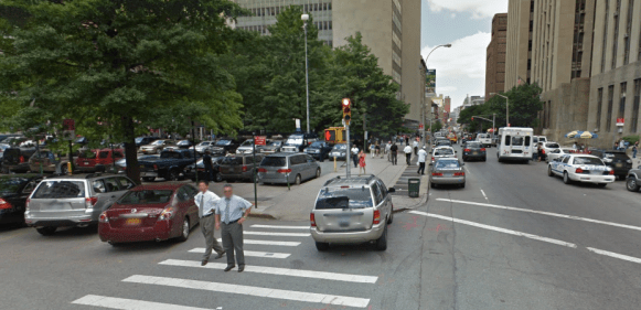 The same location in 2011, before the sidewalk extension was added and the parking lot in the background became part of Collect Pond Park. (Note the WABC van parked in the background.) Photo: Google Maps