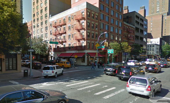 "A driver makes a left turn into the crosswalk at E. 61st Street and First Avenue, where John Torson was fatally struck Thursday. NYPD said the 89-year-old victim was ""outside the crosswalk"" when he was hit. Image: Google Maps"